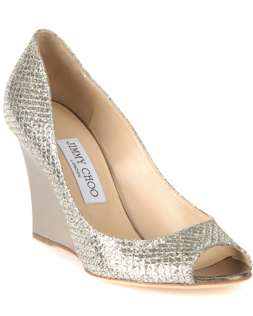 e50981eb2b8 Jimmy Choo Baxen Glitter Peep-Toe Wedge Pump