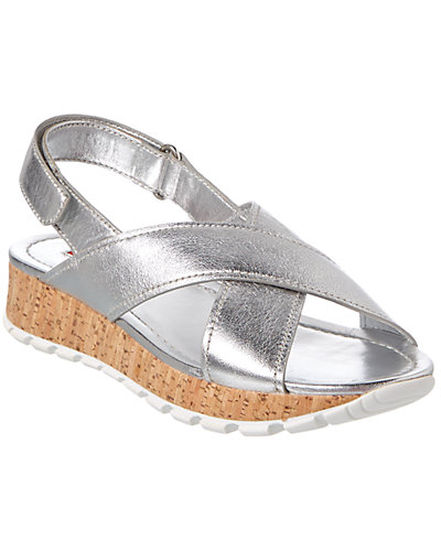 Prada Metallic Leather Wedge Sandal