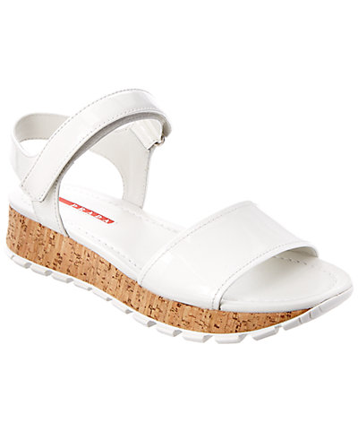 Prada Patent & Cork Double-Band Wedge Sandal