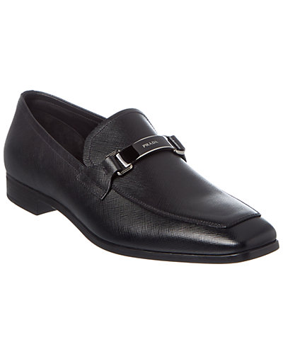 Prada Logo Strap Saffiano Leather Loafer