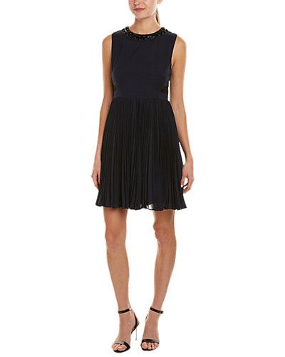 Rebecca Taylor Bugle Waves Embellished Silk-Blend A-Line Dress