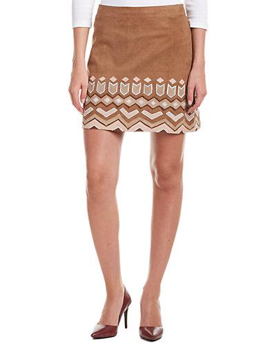 Calypso St. Barth Morette Leather A-Line Skirt