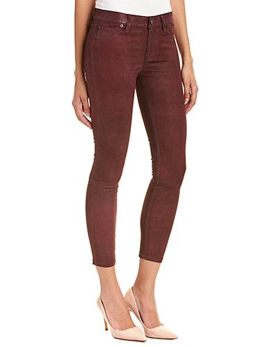 HUDSON Jeans Krista Bordeaux Wax Leather Skinny Crop