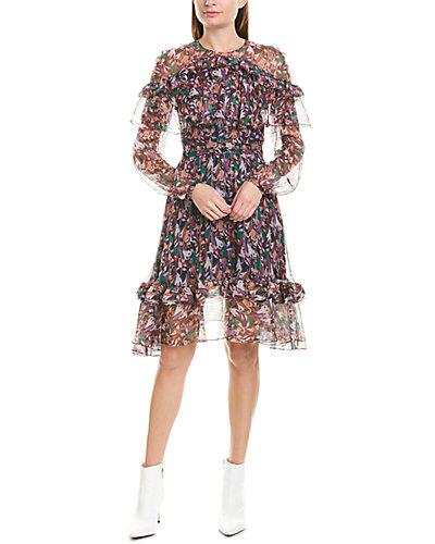 Rue La La — PRABAL GURUNG Ruffle Silk-Blend A-Line Dress