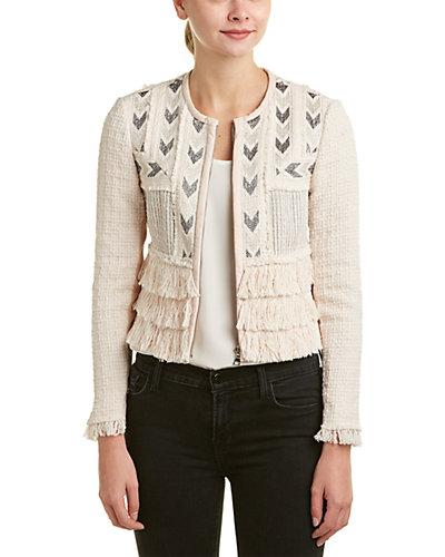 Rebecca Taylor Tweed Fringe Leather Trim Jacket