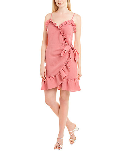 Rue La La — Rebecca Taylor Ruffle Linen-Blend Faux Wrap Dress