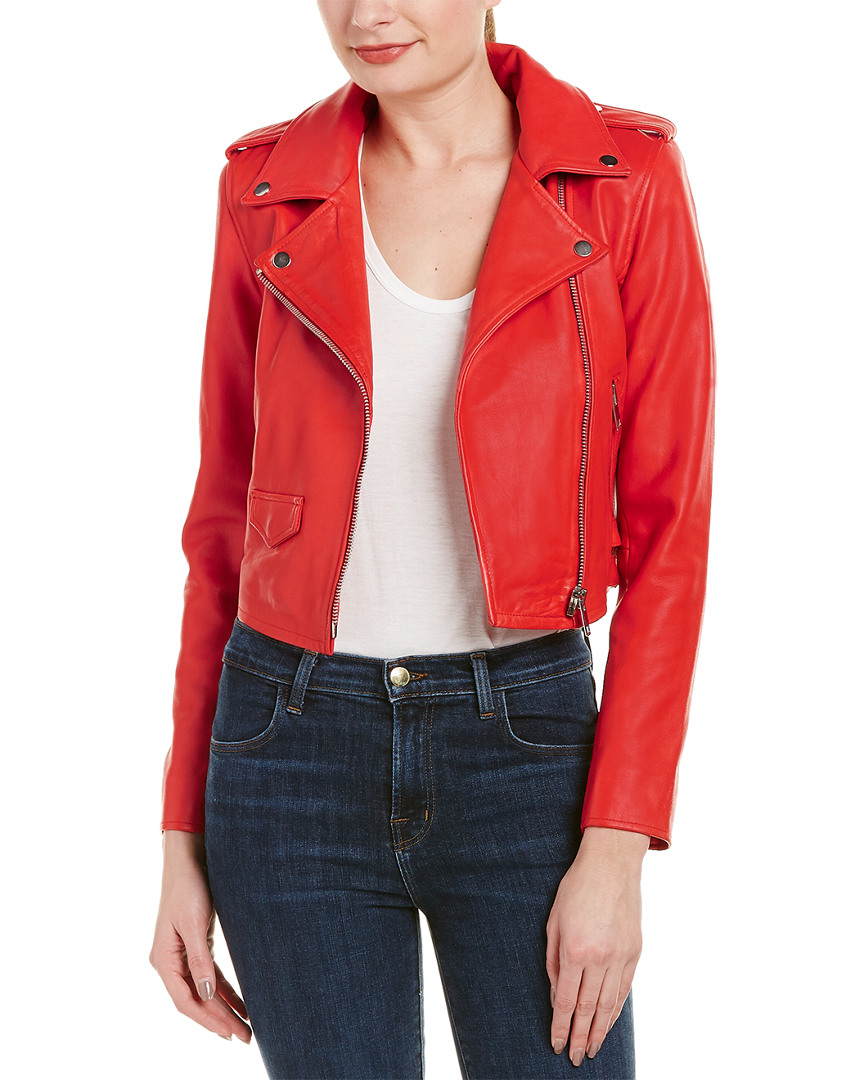 W118 By Walter Baker Woman Liz Leather Biker Jacket Red Size L W118 by Walter Baker Real Online Newest Sale Online Cheap Low Price q9lr7T