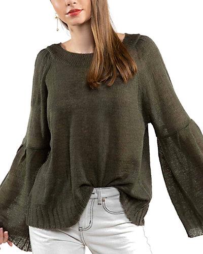Rue La La — POL Clothing Crew Neck Lightweight Wool-Blend Sweater