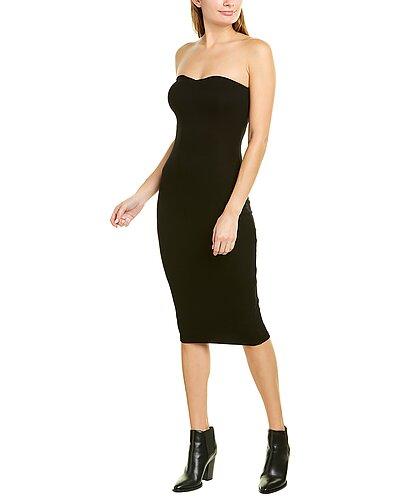 Rue La La — Enza Costa Ribbed Strapless Silk-Blend Midi Dress