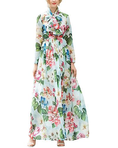 Rue La La — BURRYCO Silk-Blend Maxi Dress