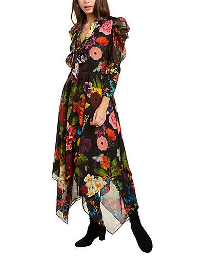 Rue La La — alice + olivia Karen Silk-Trim Dress
