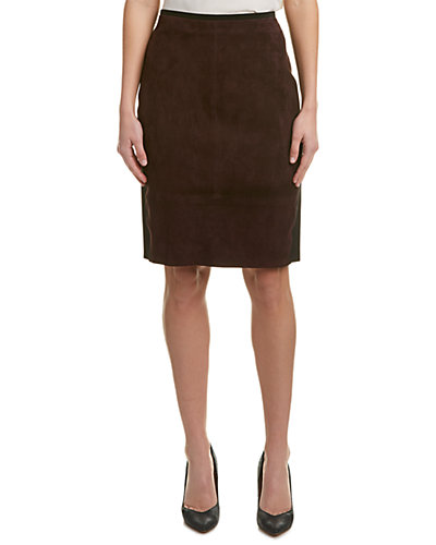 Elie Tahari Suede Pencil Skirt