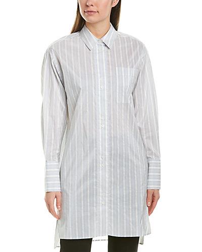 Rue La La — Lafayette 148 New York Marvin Oversized Silk-Blend Boyfriend Shirt