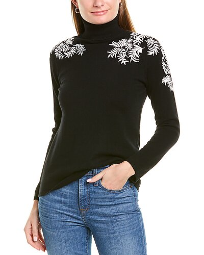 Rue La La — sofiacashmere Contrast Embroidery Cashmere Sweater