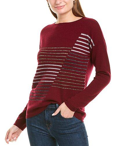 Rue La La — sofiacashmere Metallic Stripe Cashmere-Blend Sweater