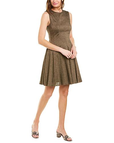 Rue La La — Theory Peplum Linen-Blend A-Line Dress