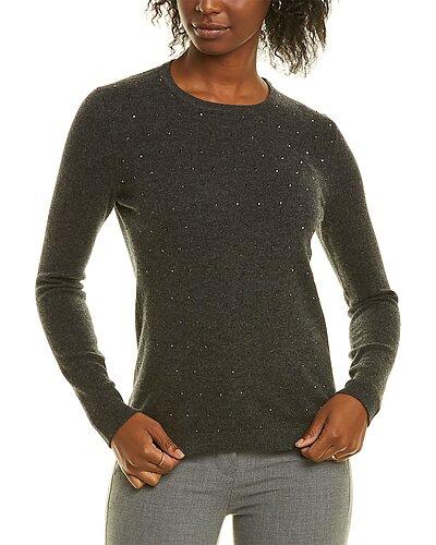 Rue La La — Forte Cashmere Crystal Trim Cashmere Sweater