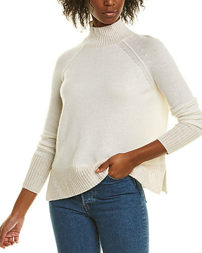 Rue La La — Forte Cashmere Plaited Mock Neck Cashmere Sweater
