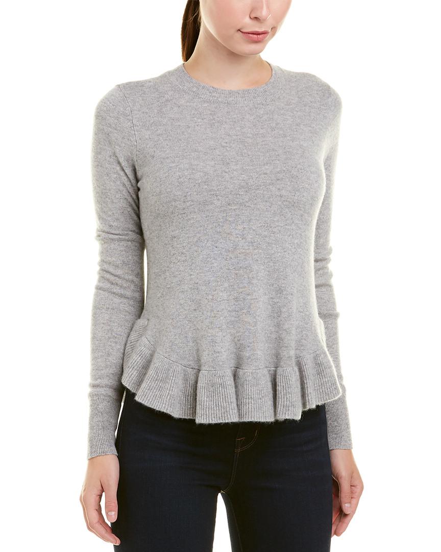cb1f8fcb95 Autumn Cashmere Womens Ruffle Shirttail Cashmere Sweater, S, Grey ...