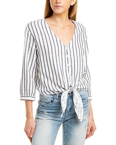 Rue La La — Three Dots Gauze Tie-Front Shirt