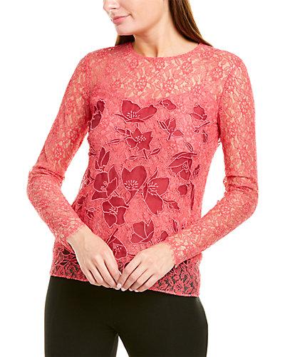 Rue La La — Oscar de la Renta Floral Lace Silk-Lined Top