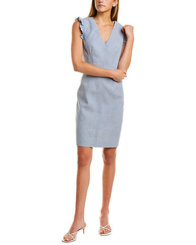 Rue La La — Rebecca Taylor V-Neck Linen-Blend Dress