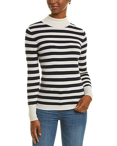 Rue La La — Kier + J Stripe Turtleneck Cashmere Sweater
