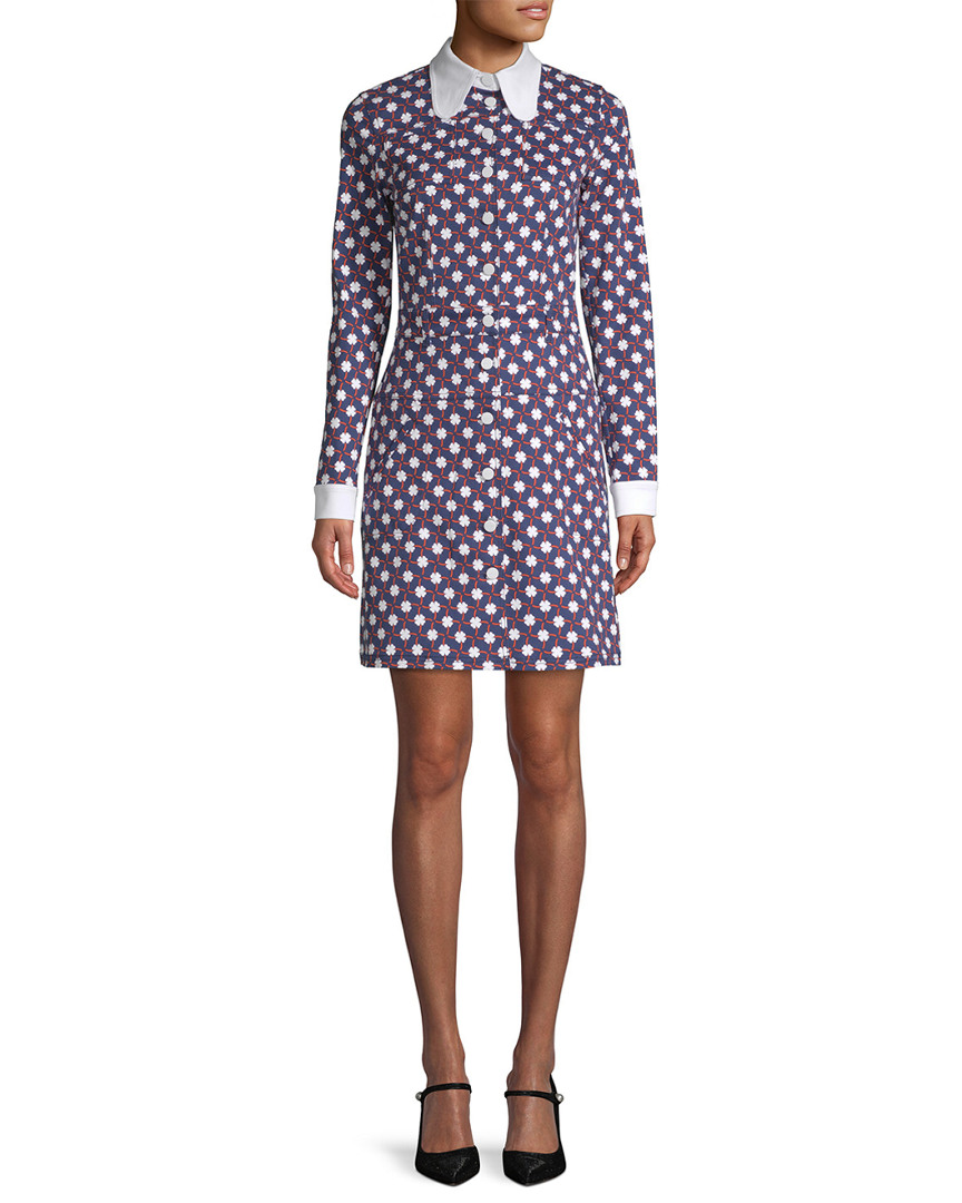 Carven CHECKERED FLORAL SHIRTDRESS