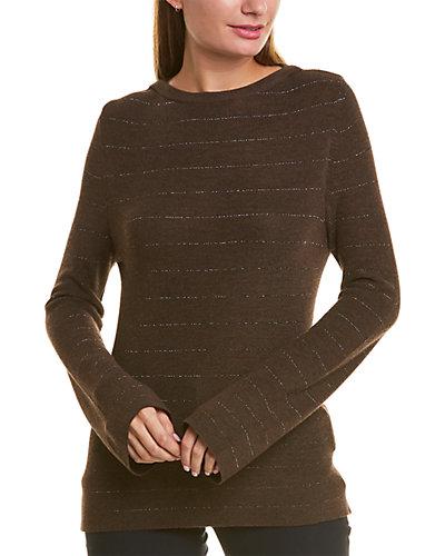 Rue La La — Piazza Sempione Metallic Stripe Wool & Silk-Blend Sweater
