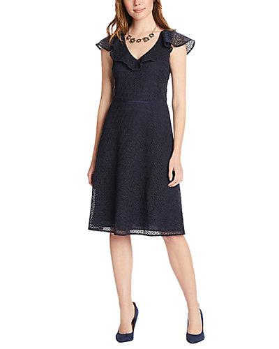 Rue La La — Draper James Heart Lace Flounce Shoulder Dress
