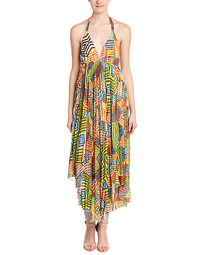 alice + olivia Ollie Halter Neck Handkerchief Maxi Dress