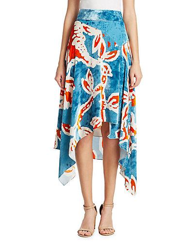 Rue La La — Peter Pilotto Printed Velvet Asymmetric Skirt