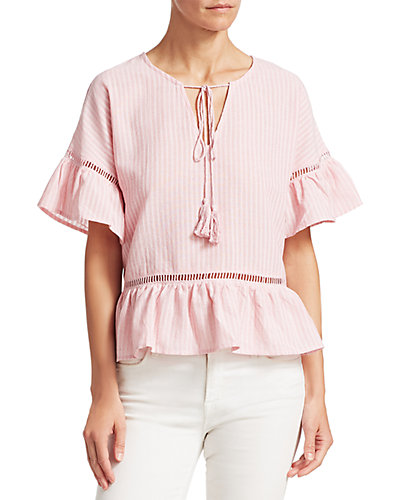 Renvy Ruffle Trimmed Striped Blouse by Renvy