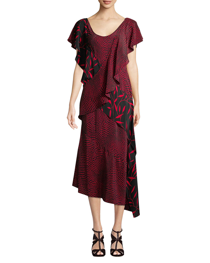 Diane Von Furstenberg Printed Draped Ruffle Midi Dress 14117899880000