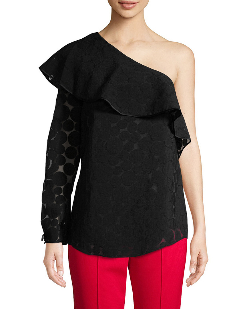 Diane Von Furstenberg One-Shoulder Ruffle Front Top 14117900150003