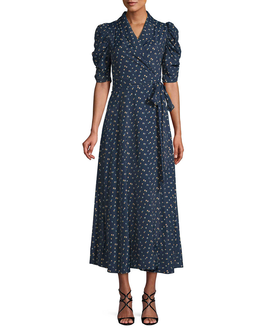 Jill Stuart DRALKE PRINTED WRAP MIDI DRESS