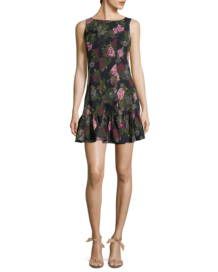 FLORAL & FLARED SILK DRESS