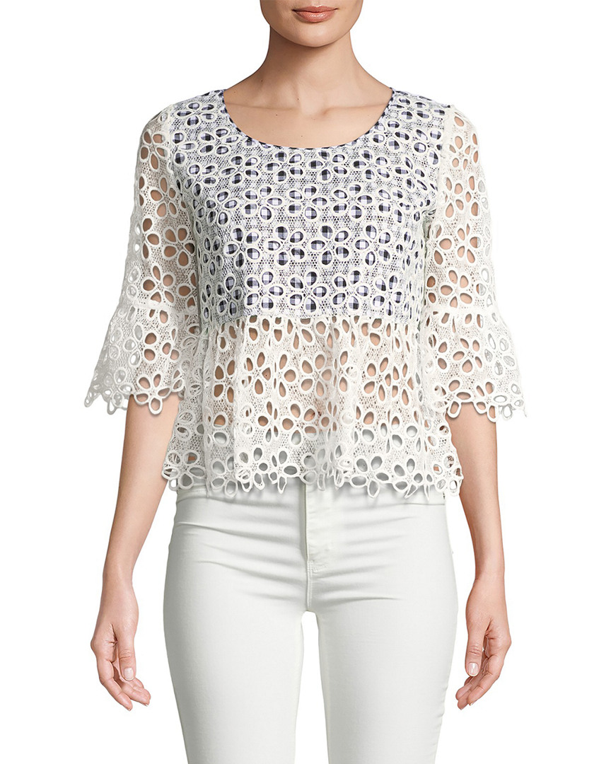 Anna Sui GINGHAM AND DAISIES CROP TOP