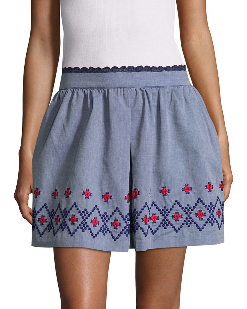 Anna Sui FLORAL EMBROIDERY CHAMBRAY SKIRT