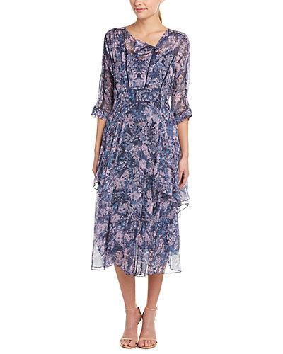 Rebecca Taylor Kiku Print Silk Midi Dress