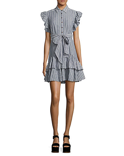 Rue La La — Rebecca Taylor Yarn-Dyed Striped Dress