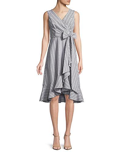Rue La La — Calvin Klein Ruffle Trim Wrap Dress