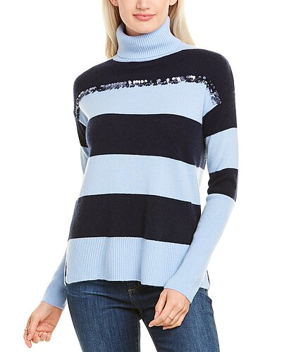 Rue La La — sofiacashmere Sequin Turtleneck Cashmere Sweater