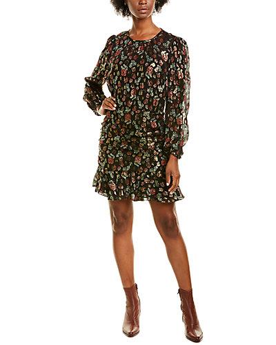 Rue La La — Veronica Beard Metallic Floral Clip Blouson Dress