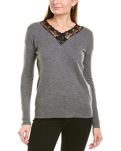 Rue La La — sofiacashmere Lace-Trim V-Neck Cashmere Sweater
