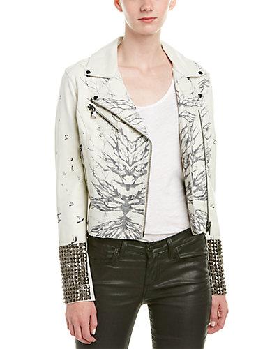 Haute Hippie Printed Leather Moto Jacket