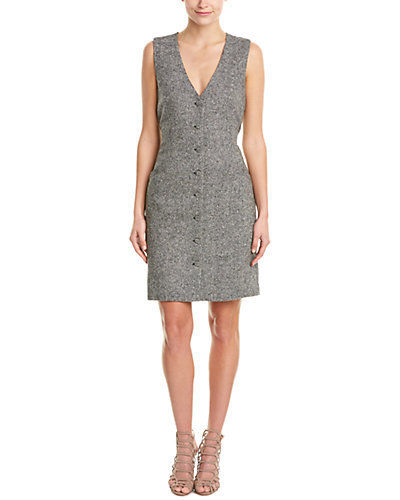 Diane von Furstenberg Gilet Tweed & Lace Vest Dress