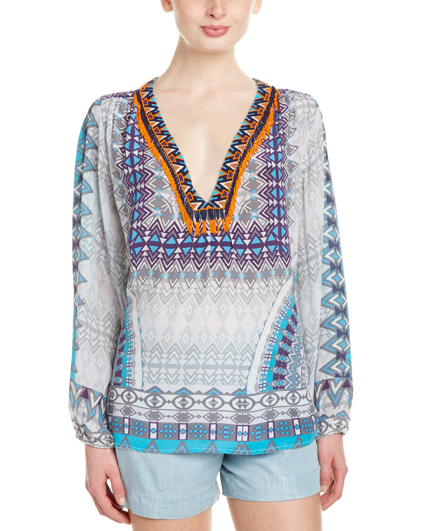 Rococo Sand THE MASTER PRINT BEADED SILK BLOUSE