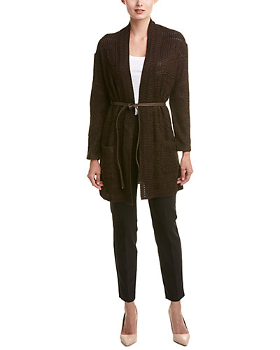 ESCADA Leather-Belted Coat