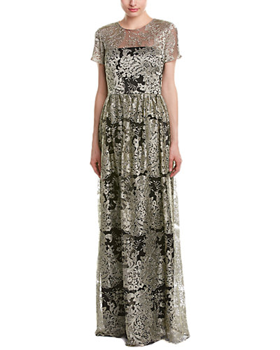 David Meister Short Sleeve Embroidered Gown